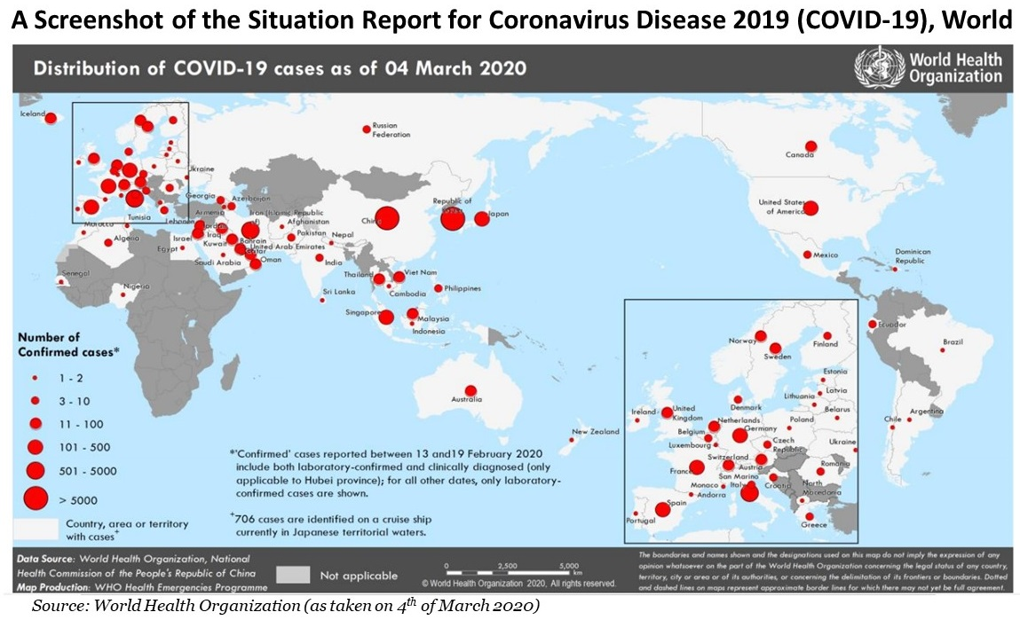 A Screenshot of the Situation Report for Coronavirus Disease